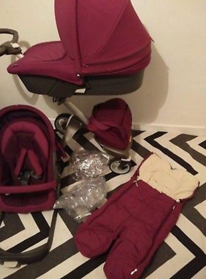 Stokke Xplory V4 Purple With Carry Cot , Seat Unit, Footmuff. Photo 1