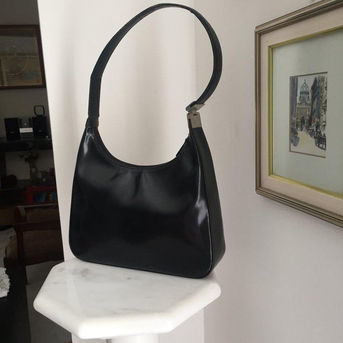 Καλογήρου μαύρη δερμάτινη τσάντα ώμου. Photo 4