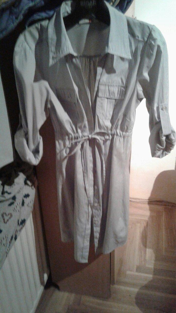 Haljina-tunika,plavo bele prugice,rukavi koji se mogu podviti na 3/4 d - Beograd