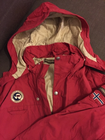 Napapijri children's red rain jacket with removable hood. New. Age 10