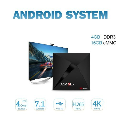 A5X MAX Android 8.1 TV Box 4GB RAM, 16 gb Rom σε Αθήνα