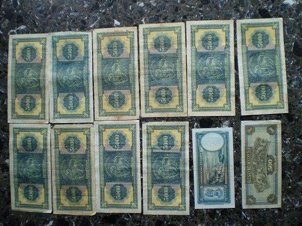 Χαρτονομίσματα από την Τράπεζα της Ελλάδος, 10 τεμάχια των 5000 δρχ - 1η έκδοση (1932), 1 τεμάχιο των 1000 δρχ - 2η έκδοση (1939) και 1 τεμάχιο των 500 δρχ - 1η έκδοση (1939), σε άριστη κατάσταση