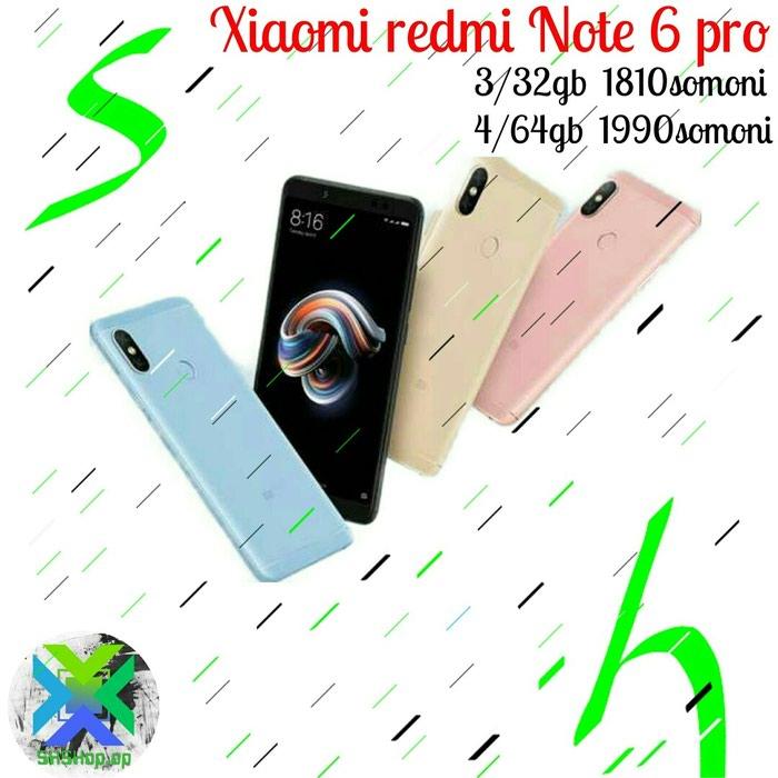 Xiaomi redmi note 6 pro 1810 сомони. Photo 0