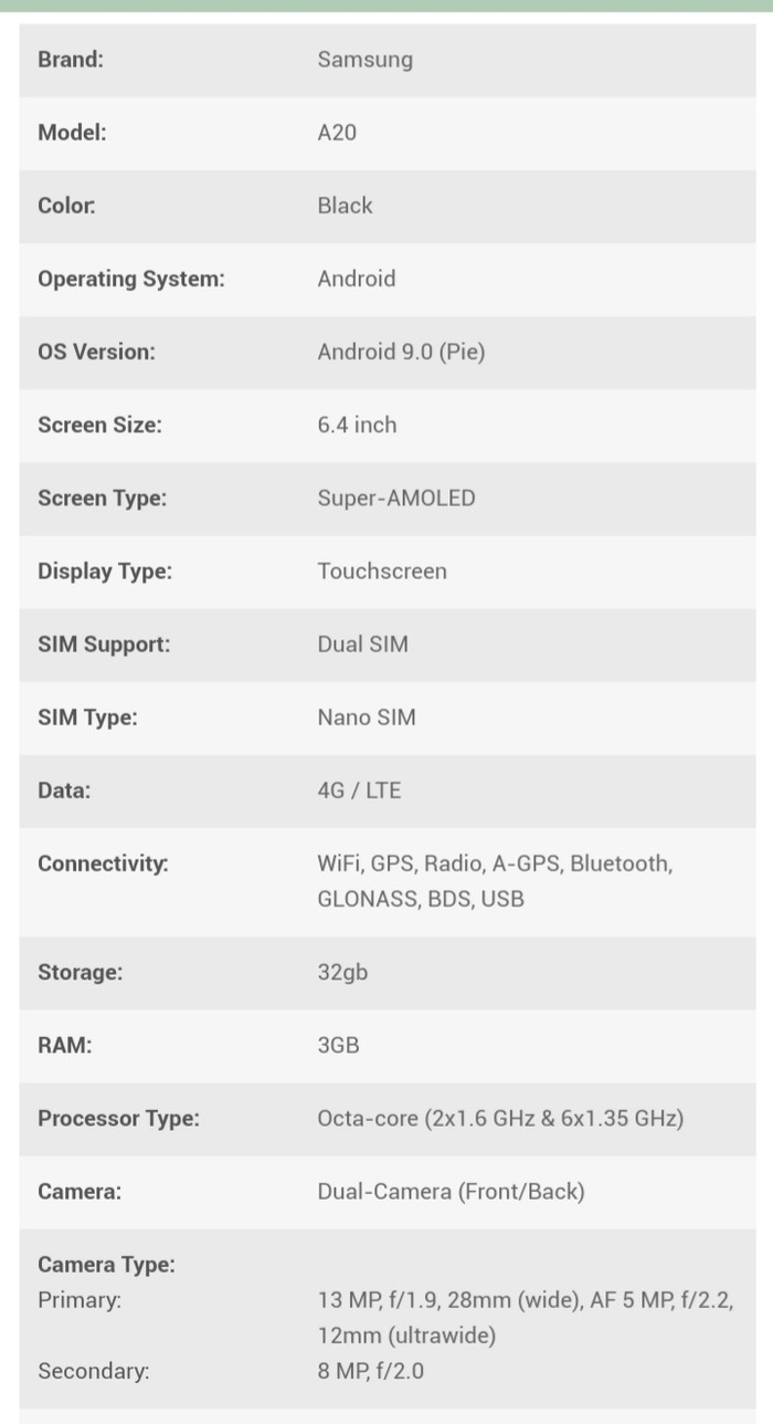Б/у Samsung A20 32 ГБ Черный. Photo 3
