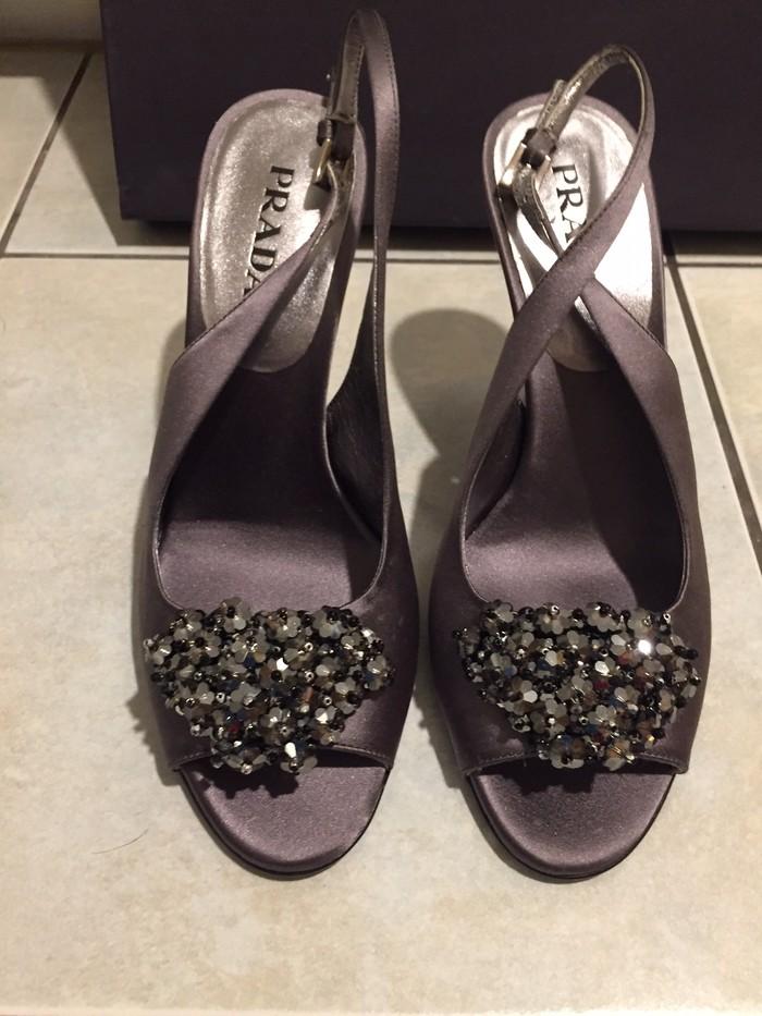 Prada peep toe heels with jewel decoration