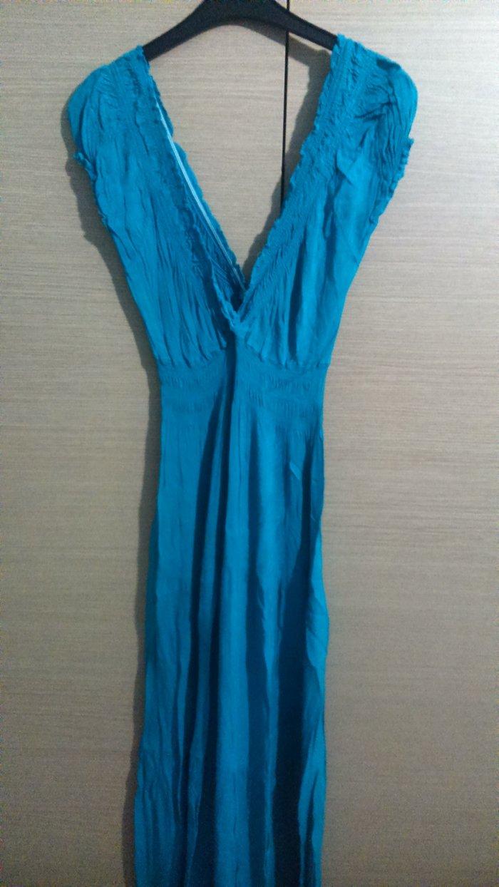 Φόρεμα πετρόλ μακρύ σε άριστη κατάσταση, μέγεθος one size. σε Δυτική Θεσσαλονίκη