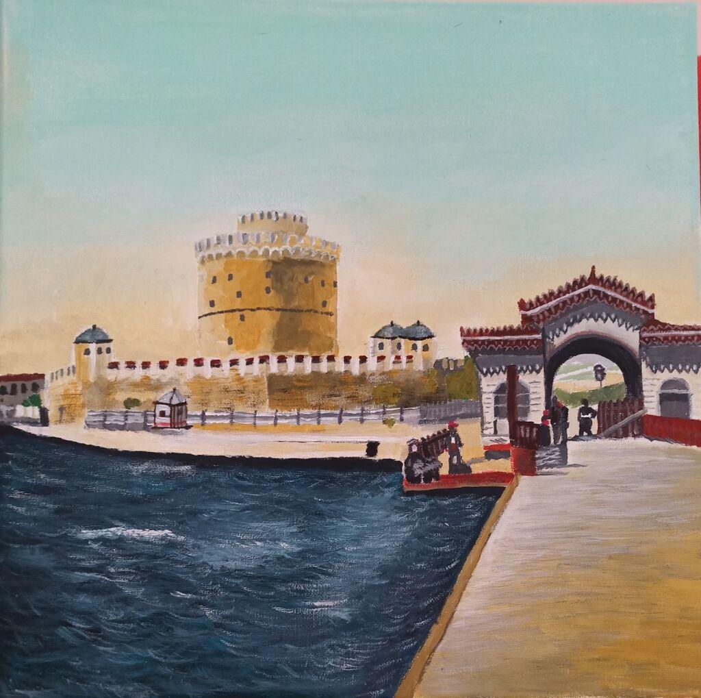 παλιά Θεσσαλονίκη του 1890 είναι τελαρο, φτιαγμένο με τεμπερα και: παλιά Θεσσαλονίκη του 1890 είναι τελαρο, φτιαγμένο με τεμπερα και