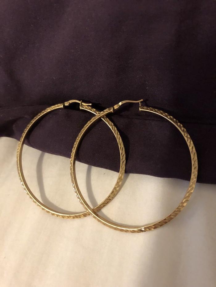 Προς πώληση! Μεγάλα 10K χρυσός σκουλαρίκια! Made in Italy!. Photo 1