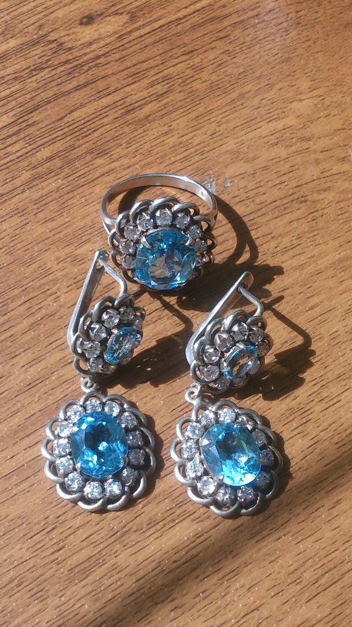 Комплект из серебра с голубым топазом из Индии