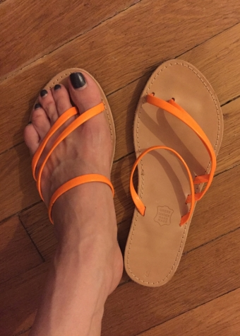 Women's leather sandals with orange stripes. New . Size 38