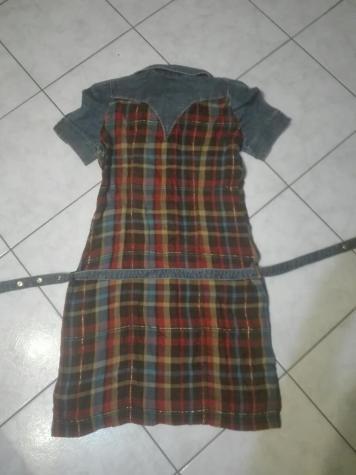 Φορεμα λινο με τζιν, καρο, ολοκαινουργιο. Photo 4