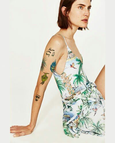 Μαγιό zara ολόσωμο multicolor printed swimsuit v-neck. Photo 3