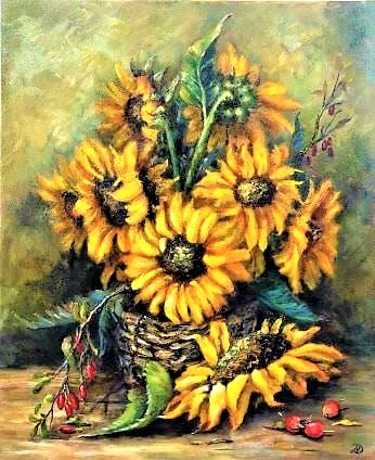 Картина на продажу Подсолнухи, холст масло, размер 45/55 . Photo 0