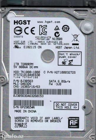 Bakı şəhərində Noutbuk ucun hard disk sattiram  tezedir tecili satilir real alicilar