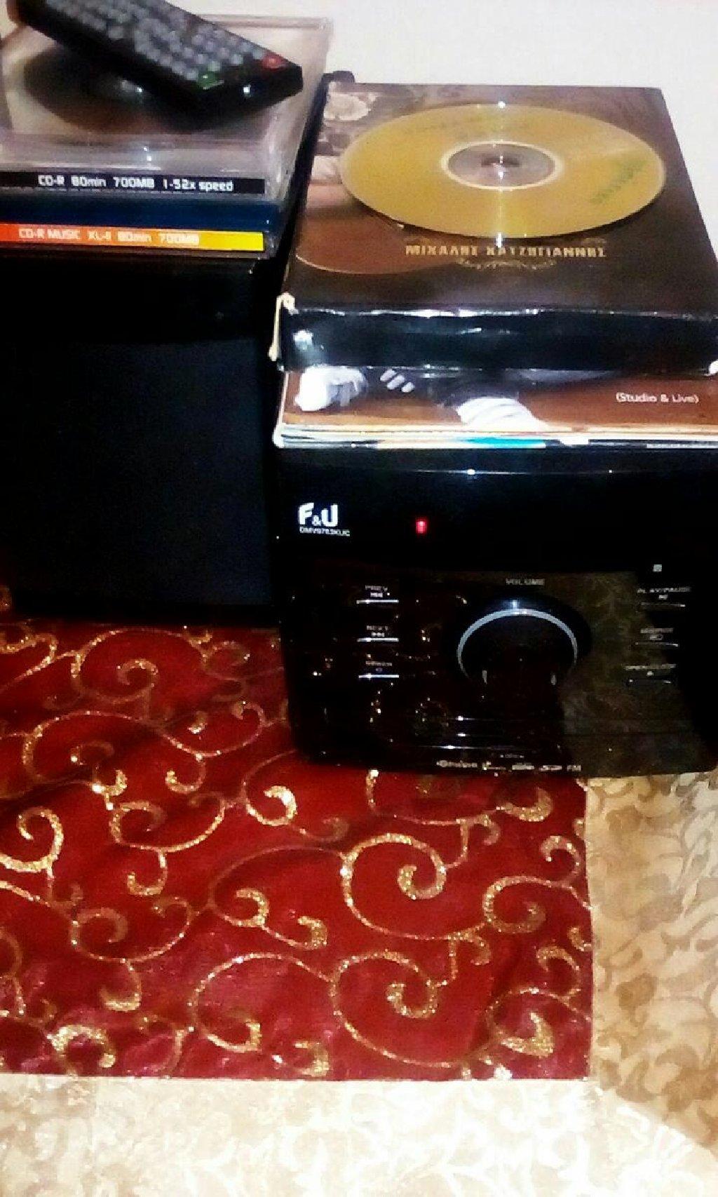 Μινι ραδιο CD MB3 player F&U με δυο ηχεια και τηλεκοντρολ 2 χρονια εγγυηση καινουριο