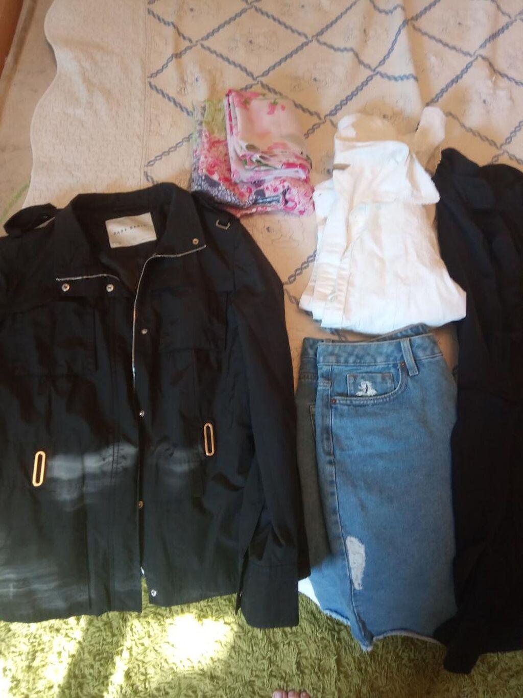Пакет вещей размер 46 юбка джинсовая новая, куртка ветровка, рубашка , платье, туника чёрная, сарофан хб