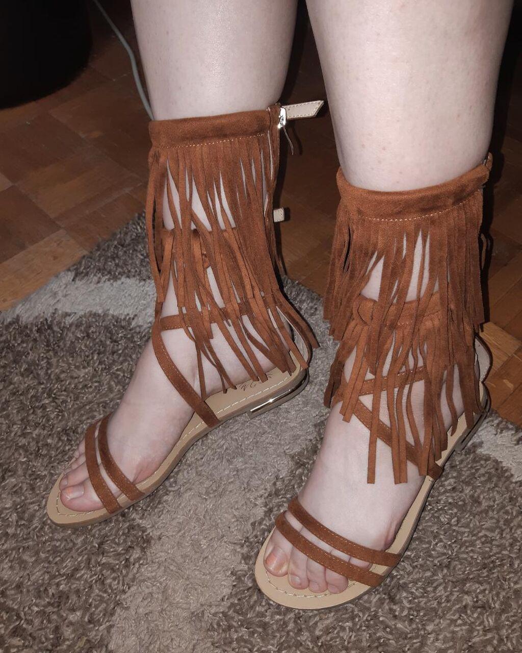 Braon rimljanke - sandale sa resama
