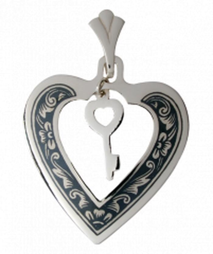 Κρεμαστό Καρδιά με Κλειδάκι από ασήμι 925° με χειροποίητο σχέδιο τεχνοτροπίας νίελλου (59x40mm)