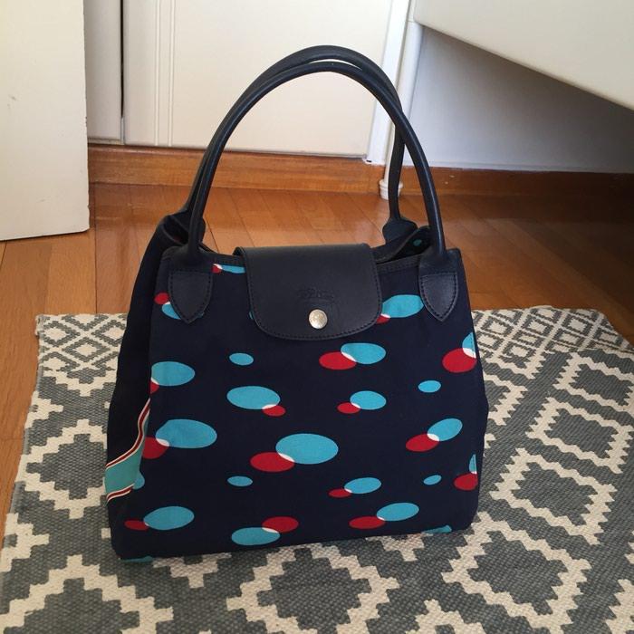 Longchamp canvas υφασμάτινη τσάντα. Σε σκούρο. Photo 4