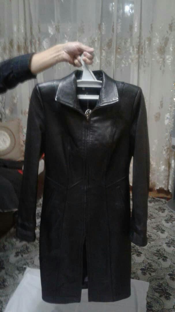 Кожанный сюртук черного цвета в Кара-Балта