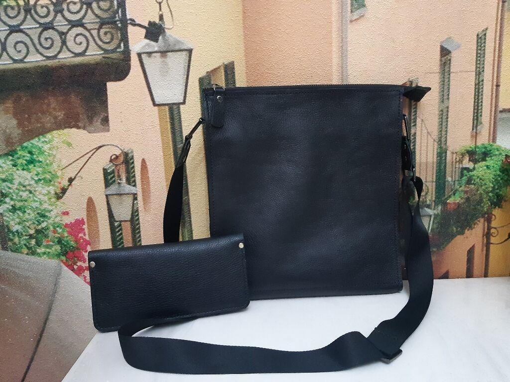 Новая кожаная сумка и портмоне