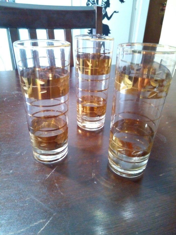 3 ποτηρια ουζου με χρυσο καλης ποιοτητας αχρησιμοποιητα. σε Χαλάνδρι