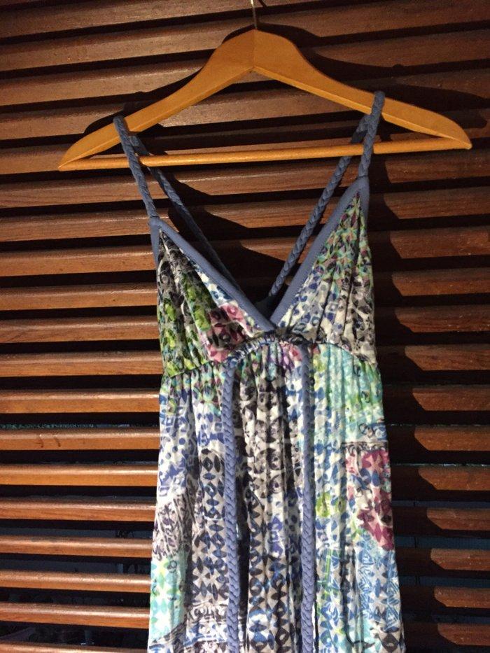 Βαμβακερό εμπριμέ boho φόρεμα με τιράντες και ανοιχτή πλάτη . Αφόρετο . Photo 1