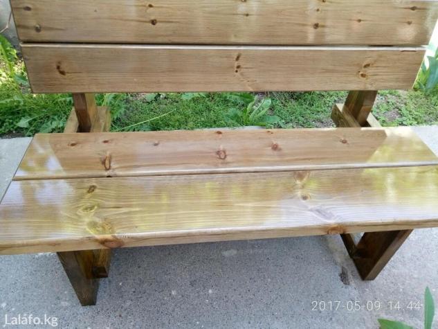 Столы и скамейки на даче 47