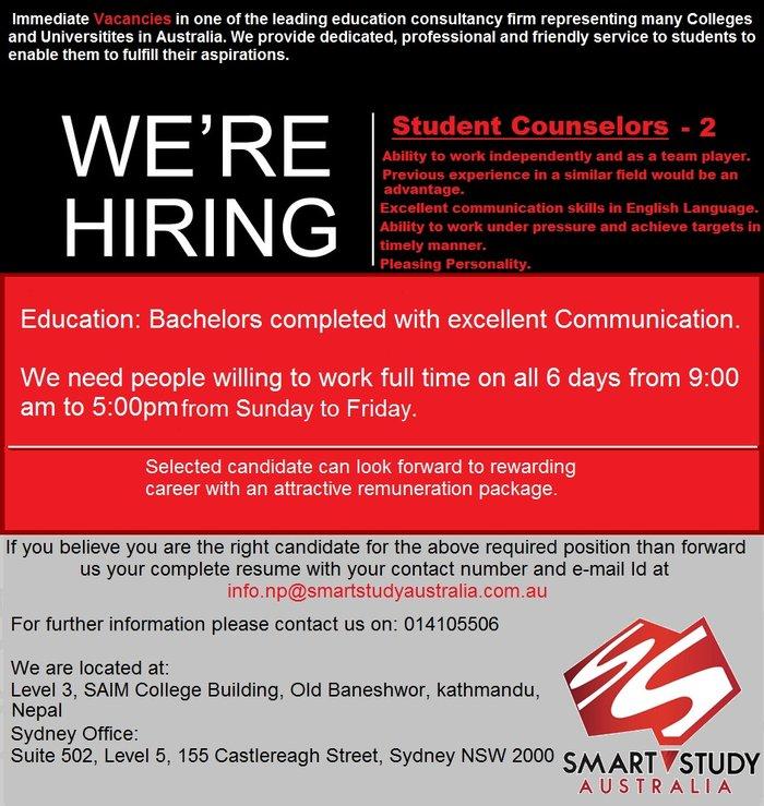 Counselor wanted for Smart Study Australia - Nepal Office! in Kathmandu