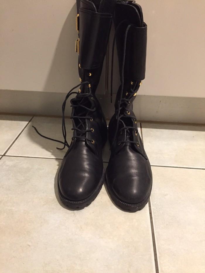 Army style γυναικείες μάυρες δερμάτινες  μπότες καλογήριου