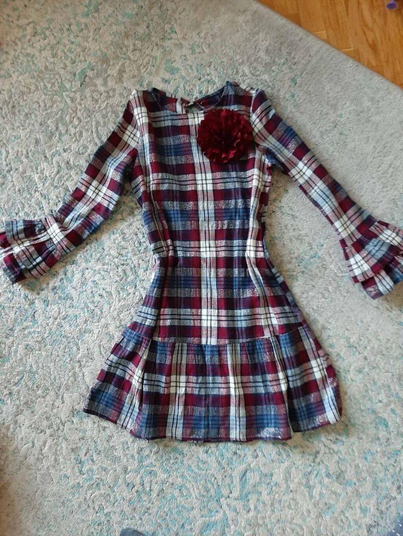 Karirana haljina, vel. M, jednom nosena