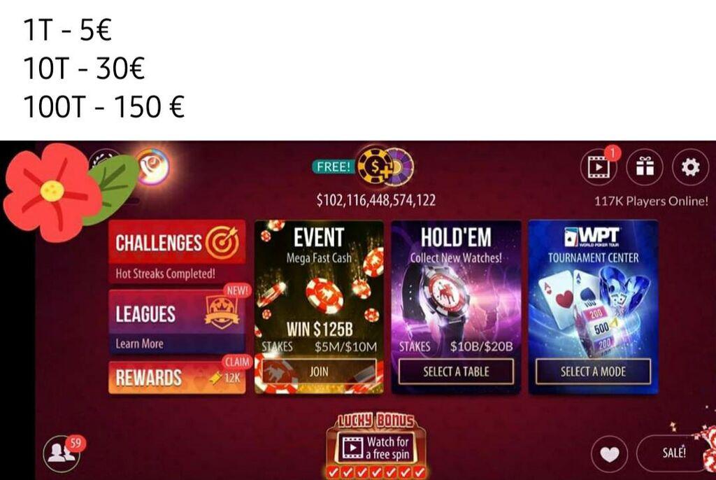 Čipovi za poker  1T - 5€ 10T - 30€ 100T - 150€