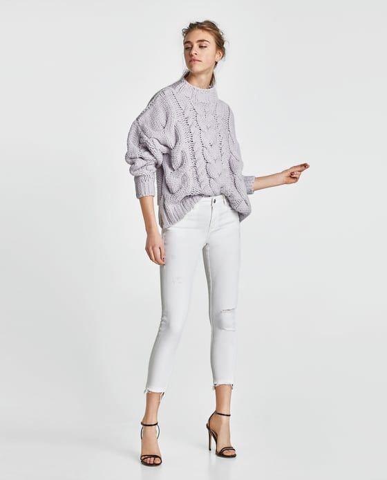 ZARA Denim λευκό skinny τζιν. Είναι ψηλόμεσο. Photo 2