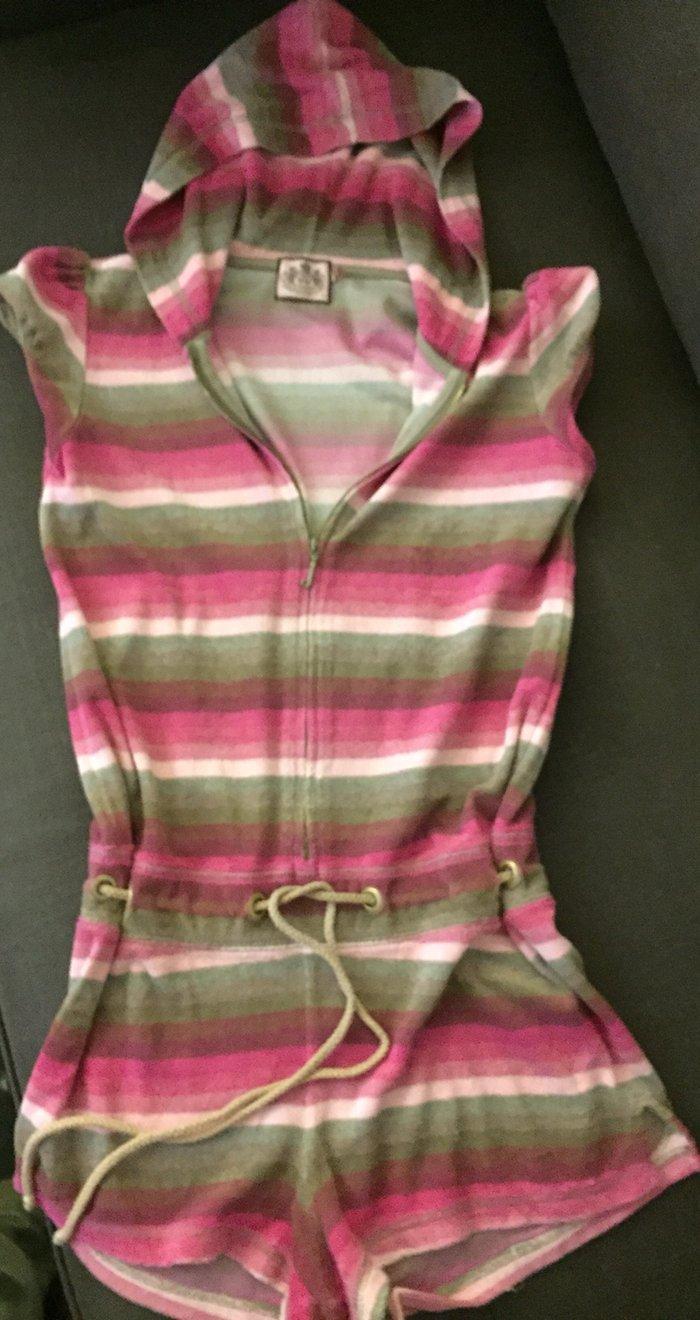 Juicy παιδικό jumpsuit σορτσάκι με hoodie , βαμβακερό πετσετέ Νο ηλικί. Photo 0