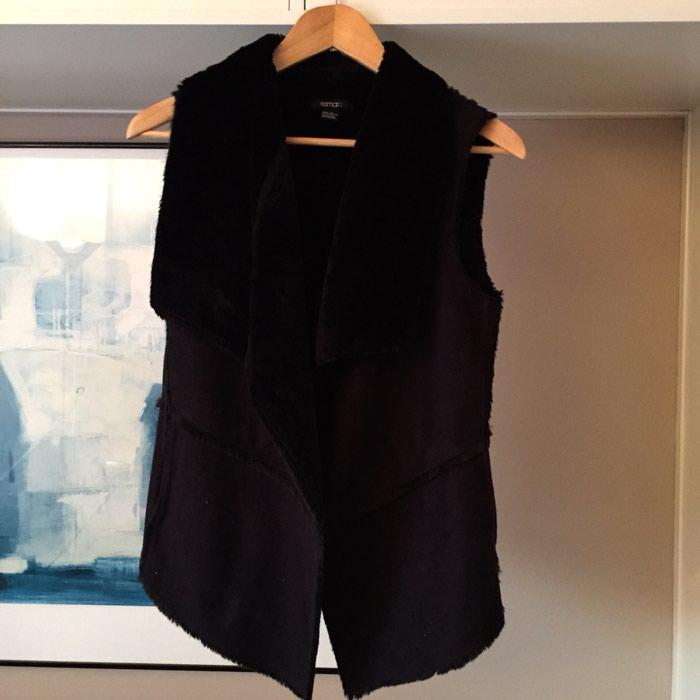 Μαύρο γούνινο μάλλινο γιλέκο. Αφόρετο. Νούμερο S σε Νέα Σμύρνη