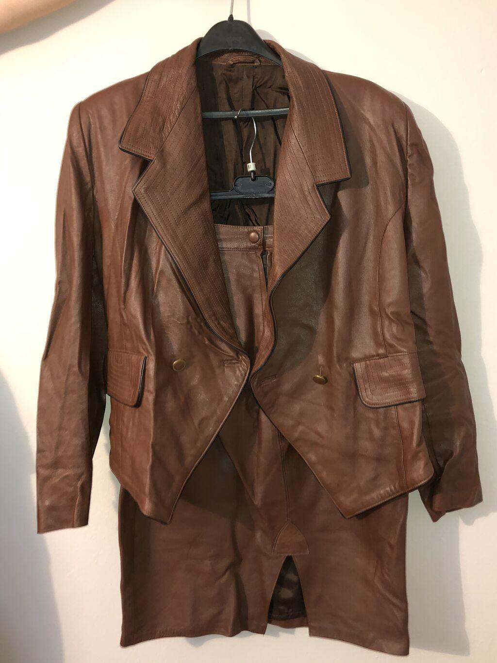 Komplet kožna jakna i kožna suknj (od prave kože), veličina 40, cena 7000 dinara, kao novo, dobro očuvano