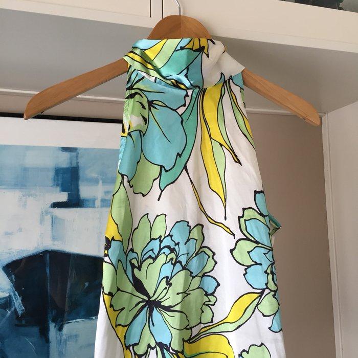 Zara σατέν αμάνικη floral πουκαμίσα με ψηλή. Photo 7