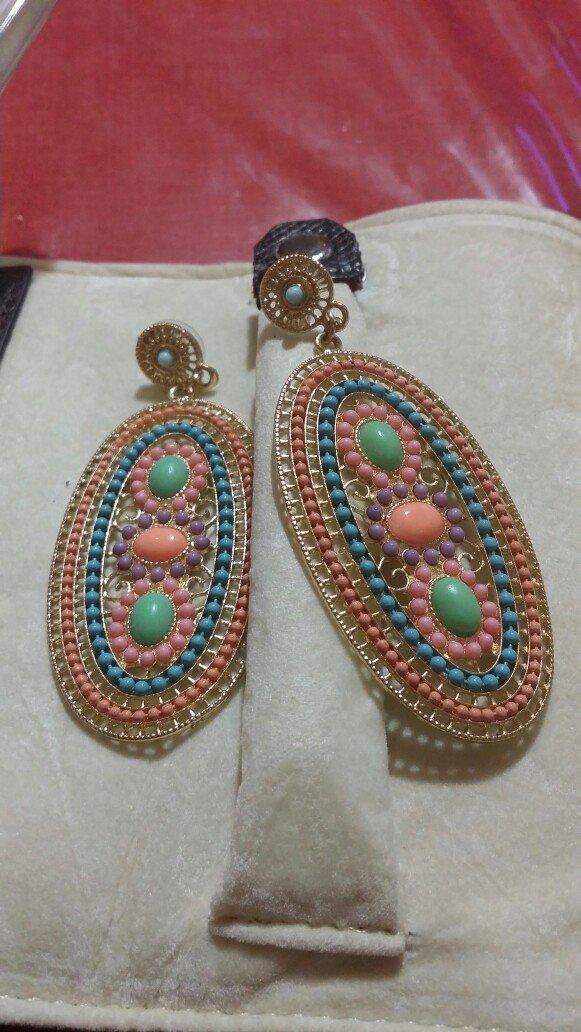 Υπεροχα σκουλαρίκια μακριά χρώματος κοραλι -ροζ σιελ.. Photo 0