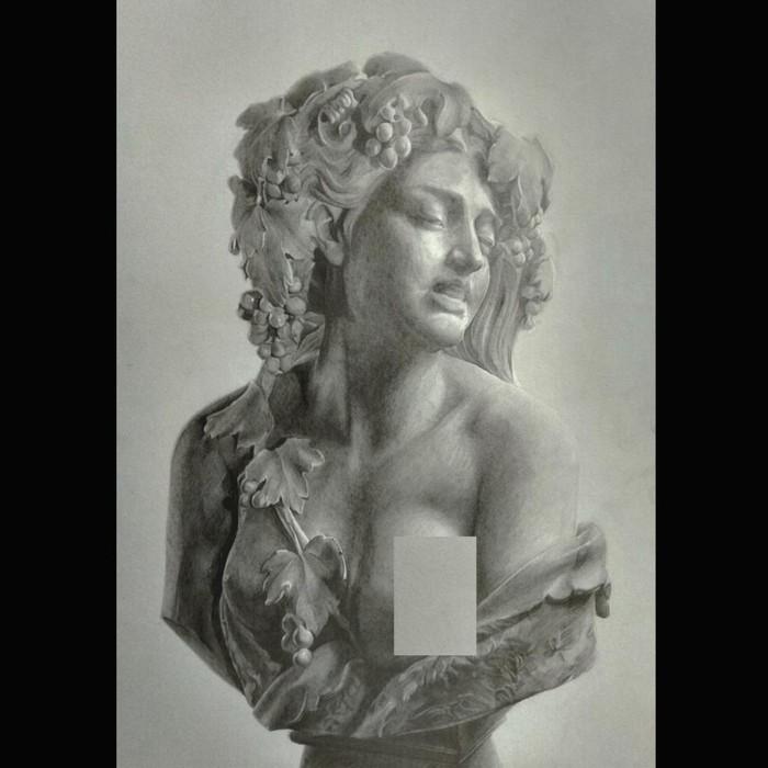 """Άγαλμα σχέδιο σε χαρτί """" Γυναίκα ως Διόνυσος """""""