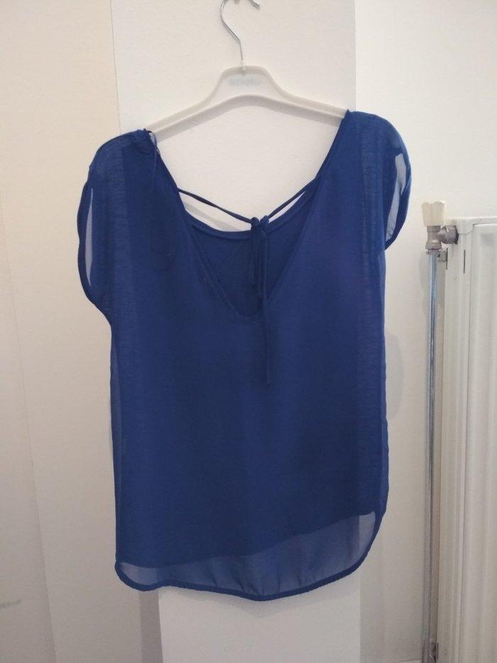 Μπλε ρουά μπλούζα με διάφανη πλάτη (Stradivarius, no S). Photo 1