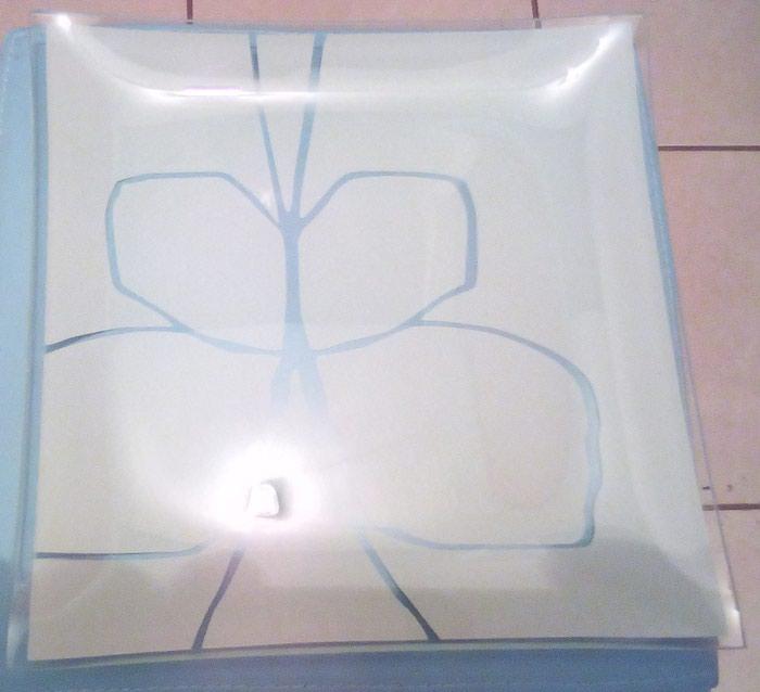 Διακοσμητικά διάφορα, Δύο διακοσμητικά πιάτα από γυαλί με χειροποίητο σχέδιο, 25Χ25 εκ