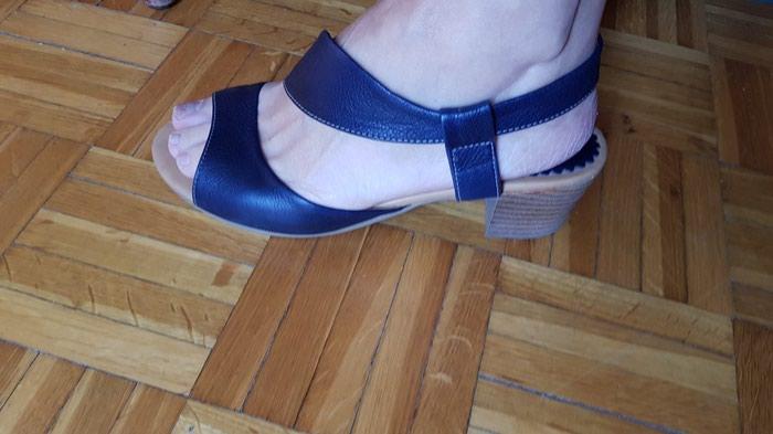 Kozne sandale br 38. teget, 2x obuvene. Photo 0