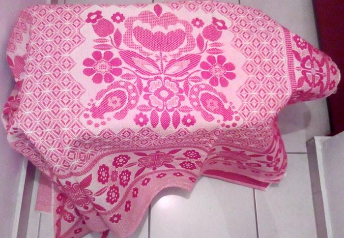 Κουβερλί ολοκαίνουρια ροζ 2,10Χ1,37και μπλε-κόκκινο με παραδοσιακό σχέδιο 125Χ200, κουβέρτα υφαντή άσπρη 156Χ218
