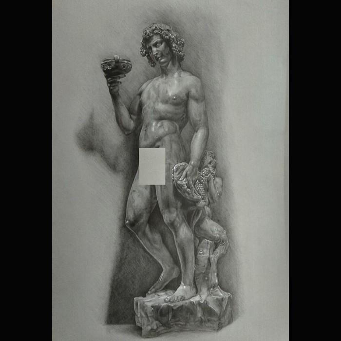 """Άγαλμα σχέδιο σε χαρτί """" Μεθυσμένος Διόνυσος """""""