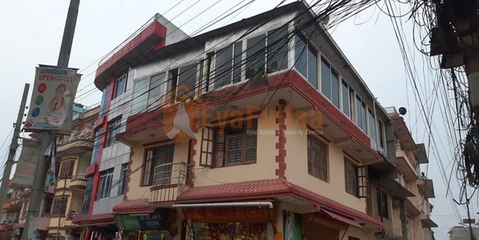 A commercial flat system house having land area 0-4-0-0 of 3 floors, facing west – north, having 16 feet pitched road is on sale at Baniyatar Kathmandu