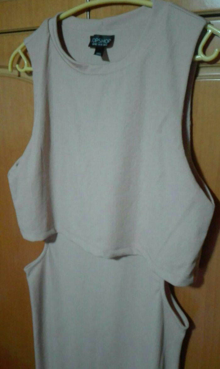 Φόρεμα με κοψίματα nude midi large. Photo 0