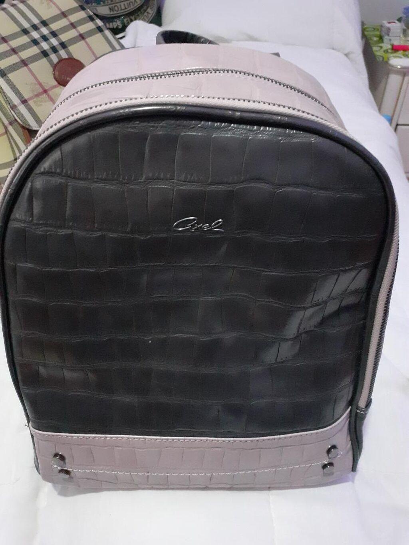 Axel ranac iz najnovije kolekcije/Grchka najpoznatija firma torbi i sl/ Sa dve veće  pregrade i unutra dosta manjih Odličan za kombinovanje -kao i za sve prilike od fakulteta,preko izleta do kancelarije Puder roze boje sa sivom Prodaja zbog zatvaranja butika !!!