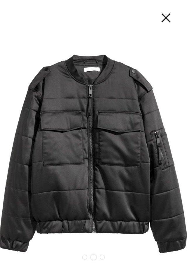 Ολοκαίνουργιο h&m μαύρο bomber puffer jacket. μπροστινές τσέπες. ά. Photo 1