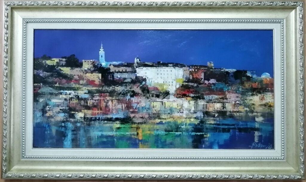 Slike - Beograd: Dimitrijević Branko, ulje na platnu zategnuto na blind ram, dimenzija slike 70x35 cm plus ram kao na fotografiji