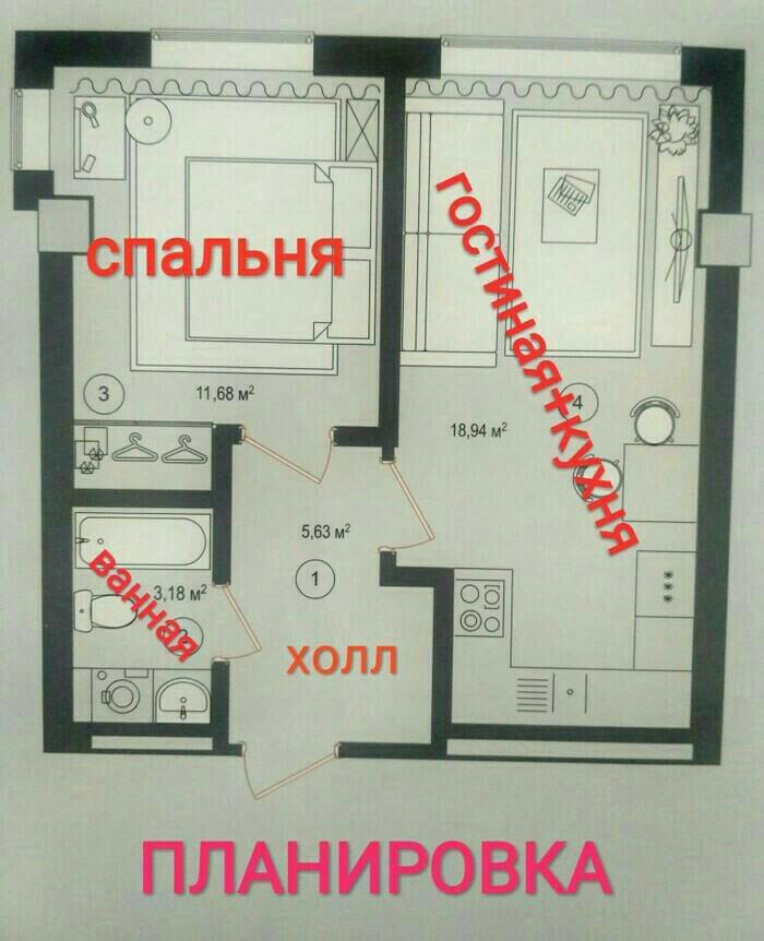 Продается квартира: 2 комнаты, 41 кв. м., Бишкек. Photo 1